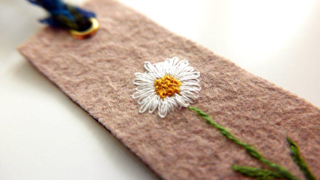 Hand-embroidered bookmark by Hikari Tanaka, Tokyo, Japan.