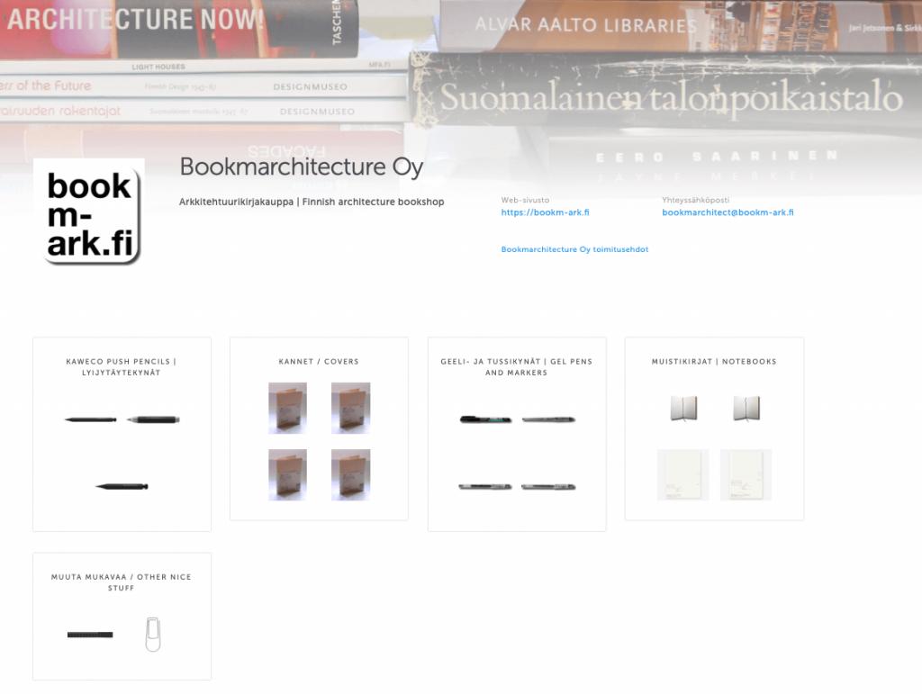 Holvi-verkkokauppamme etusivu osoitteessa holvi.com/shop/Bookmarchitecture/.