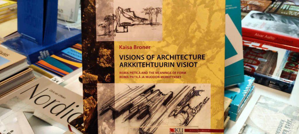 Kaisa Bronerin Reima Pietilä -kirja esillä bookm-ark.fi-arkkitehtuurikirjakaupassa.